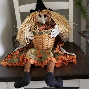 Halloween Witch Hollding A Basket Handmade